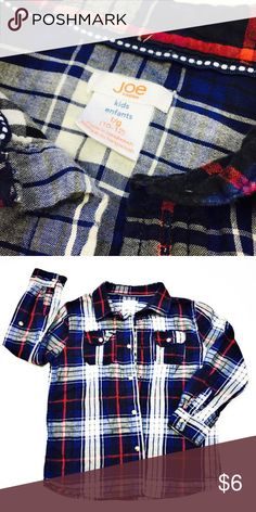 💲Make an Offer💲 Plaid flannel button down from Joe Fresh    ☑️ Size 10/12  ☑️ No tears, holes, stains, fading or defects.   ☑️ I accept all reasonable offers!!  ☑️ As always, all items are from a smoke-free pet-free home.   ☑️ Thanks for shopping Reclaimed Treasure Resale. Joe Fresh Shirts & Tops
