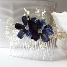 items similar to navy blue flower hair combs bridesmaid hair accessories rustic country garden weddings hair flowers dark blue on etsy