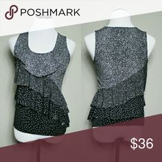 WHBM Black Layered Flow Polka Dot Top Would make the perfect blouse ?Clean and oder free ?No stains or sign of wear ?Super soft to the touch A top you will love to White House Black Market Tops