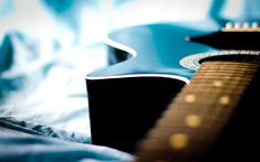 Download wallpapers guitar, musical instrument, bokeh, macro, wooden black guitar