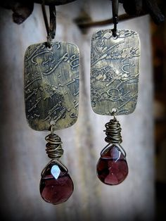 Faceted Purple Briolette and Brass Etched Metal Earrings. ferdandbird, via Etsy.