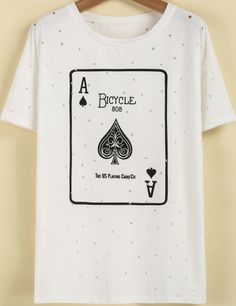 White Short Sleeve Poker Print Hollow T-Shirt - Sheinside.com This would be interesting with the black/white polkadot skirt and a black leather jacket!
