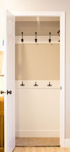 Take out the rod and put in hooks. This way the coats will get hung up. in the front coat closet!... I will do this when we buy a house. I hate rods and hangers for coats. Decorating Tips, Easy Diy, Beautiful Homes, Cheap Home Decor, Garage Doors, Dresser, Bathroom, Outdoor Decor, Furniture