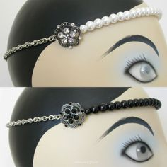 Pearl Wedding Gatsby Flapper Diamante Forehead Band Headband - Choice of Colours $64.95 by Missie77art Jewellery on eBay