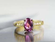 Natural Unheated Ceylon Pink Sapphire and Diamond Engagement