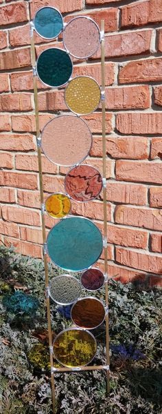 Stained glass garden art stake multi colored teal by BelloGlass
