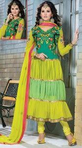 Fantastic Lime Green Georgette Long Anarkali Suit With Dupatta 3H200469