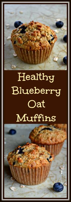 A few Healthy Blueberry Oat Muffins on a tray.