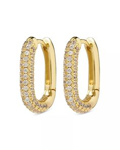 Luv Aj - Chain Link Pavé Oval Huggie Hoop Earrings