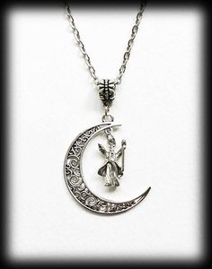 Wizard Moon Necklace, Crescent Moon, Magic Fantasy, Filigree Silver Moon Pendant, Alternative Jewelry, Gift For Her, Celestial Necklace by WhisperToTheMoon on Etsy