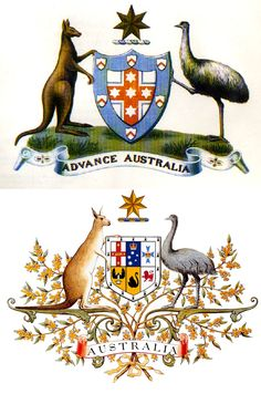 Australia 20 Awesome Coats Of Arms Australian Coat Of Arms, Australian Flags, Elephant Trunk, Bear Claws, Human Soul, Weird Facts, Rooster, Moose Art, History