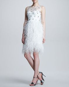 Lela Rose - Embroidered Feather-Skirt Dress