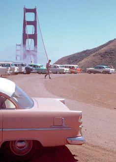 "vintagegal: ""Golden Gate Bridge, San Francisco, 1950s."