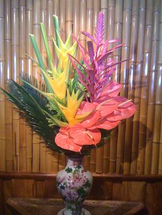Yellow Heliconia, Pink Bromeliad & Pink Anthurium, Mama's Fish House - Maui, Hawaii