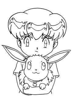 Le petit Pokémon Evoli dans les bras d'Ondine son dresseur, à colorier