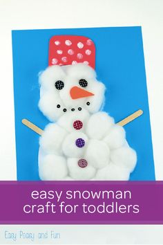 This easy cotton ball snowman craft is a great way to help your toddler celebrate the cold winter weather. You and your little one can work together to trace and cut out the shape for Mr. Snowman. Then, your child can practice her motor skills by filling the snowman in with fluffy cotton balls. Finish this creative winter craft off by using buttons, glitter, or other household items to decorate Mr. Snowman.