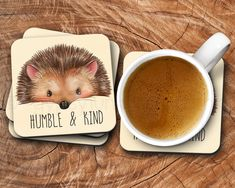 Hedgehog Drink Coaster - Hedgehog Drink Ware - Humble and Kind #CoasterFurniture