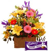 Gorgeuos Flowers combined added with enticing Cadburys Chocolate to Bangalore, Karnataka Rs. 904 / USD 15.07