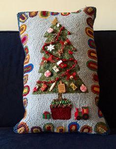 Christmas tree pillow hooked by Liz Gilbert Fox