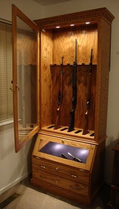 Purchasing a gun cabinet can be quite expensive so to help the DIY enthusiast we have 21 options for building or creating your own gun storage solutions. & custom gun cabinet build from pallet wood | pallet and wood slab ...