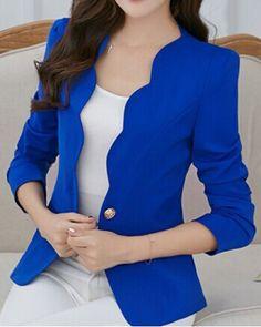 Simple Design V-Neck Long Sleeve Solid Color Blazer For Women