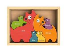 BeginAgain Cat Family Puzzle with Curriculum  Puzzle Game for Playing Stenciling AND as a Bilingual Learning Tool  Great Educational Toy for Toddlers  Wooden Toy Childrens Puzzle -- Continue to the product at the image link.