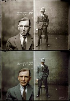 Mug shot of William Stanley Moore (opium dealer), 1 May 1925, Central Police Station, Sydney (original picture by  New South Wales Police Dept./Historic Houses Trust) – colorized by Dana Keller