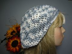 Gray Grey White Sparkle Slouch Tam Hat Snood Beret  by yarnnscents, $15.00