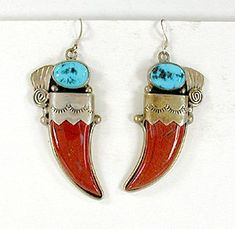 Red Jasper Claw and Turquoise sterling silver Wire earrings