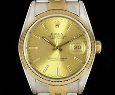 Rolex Datejust Gents Stainless Steel & Yellow Gold Champagne Dial B&P 16233 Ayo And Teo, Rolex Datejust, Luxury Watches, Gold Watch, Omega Watch, Diamond, Gold Champagne, Accessories, Stainless Steel