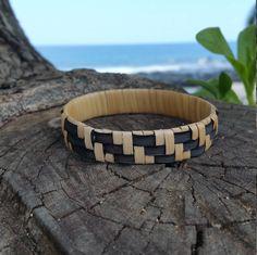 Black Beige Handwoven Hawaiian Lauhala Bracelet - #e67 by MeleManu on Etsy