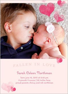 Heart Covered Girl Birth Announcement