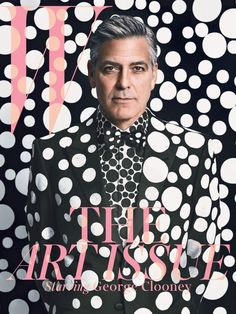 George Clooney: Spot the Star // George Clooney on the cover of W's December/January issue. Photography by Emma Summerton. (Suit, shirt & tie customised by Yayoi Kusama) Yayoi Kusama, George Clooney, Magazine W, Print Magazine, Magazine Layouts, Andy Warhol, Emma Summerton, Magazine Cover Design, Magazine Covers
