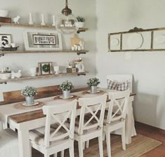 Farmhouse Dining Room Table & Decorating Ideas Bauernhaus Esstisch &am. Farmhouse Dining Room Table, Dining Room Table Decor, Dining Room Walls, Decoration Table, Dining Room Design, Rustic Table, Living Room, Dining Room Shelves, Dining Room Ideas On A Budget