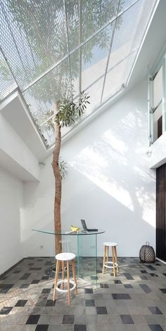 Innovative Grand Skylight Ideas With Large Net Roof With Tree Planting  Solution Incorporate Trendy Bistro Set cbad643b127