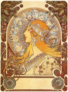 Mucha - Zodiac, 1896 Alphonse Maria Mucha foi um pintor, ilustrador e designer gráfico checo e um dos principais expoentes do movimento Art Nouveau. Filho de Andreas Mucha, um oficial de diligências,