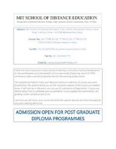 mit pune s distance pg diploma in project management project  retaining their as one of the best providers of distance education in mit school of distance education now offers post graduate diploma course