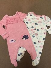 Baby M&Co Girls 0-3 Months Sleepsuits Pink White Pretty Hedgehog Design