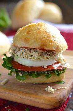 Skinny Crockpot Chicken Caesar Sandwiches-use gluten free bread