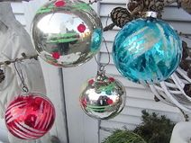 4x mid century Christbaumkugel Christbaumschmuck