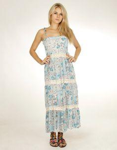 Strappy Floral Print Crochet Detail Blue Maxi Dress #ChiaraFashion