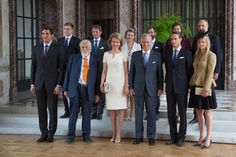 King Philippe and Queen Mathilde of Belgium welcome Hereditary Grand Duke Guillaume, Hereditary Grand Duchess Stephanie, Furst Nikolaus Blucher, Count (Arthur) and Countess Blucher, The Earl (Arthur) and Countess of Mornington, Lord Frederick Wellesley, Prince Jean-Christophe Napoleon and Prince Pieter-Christiaan of The Netherlands for an reception for descendants of the main war leader of the Waterloo Battle at the Castle Laeken on June 17, 2015 in Brussels, Belgium.
