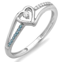 Share for $20 off your purchase of $100 or more! 0.10 Carat (ctw) 18k White Gold Round Blue And White Diamond Ladies Bridal Promise Heart Split Shank Engagement Ring 1/10 CT - Dazzling Rock #https://www.pinterest.com/dazzlingrock/
