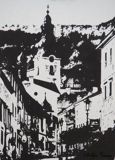 "Portfolio - Aether Visions ""Banská Štiavnica"" in black Chinese ink. Second of my views of Banská Štiavnica, my hometown in central Slovakia."