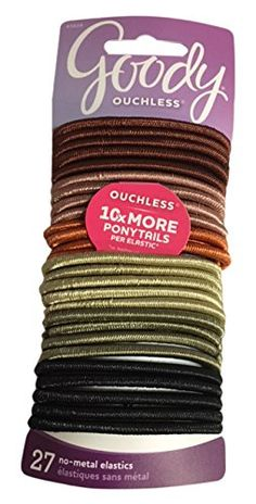 Goody Ouchless Hair Elastics Large Thick Earthtone 028 Ounce Pack of 2 * Check this awesome product by going to the link at the image. (This is an affiliate link) Neon Bracelets, Natural Hair Moisturizer, Moisturize Hair, Ponytail Holders, Hair Accessories For Women, Hair Tools, Earth Tones, Household Items, Metal