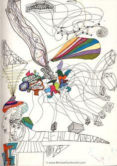 "Michael Carlton Art Sketchbook Doodle - ""On the Way Home"" The Way Home, Art Sketchbook, Doodles, 10 Years, Maps, Artist, Universe, Blue Prints, Artists"