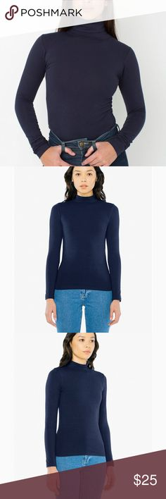 American Apparel navy cotton spandex turtleneck Pet and smoke free home American Apparel Tops