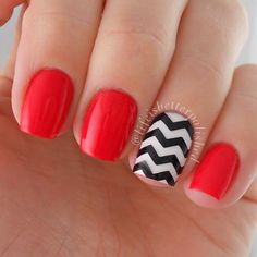 Red Nails with Black and White Chevron Accent Nail