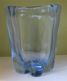 Whitefriars Glass 'Lobed Vase' BY James Hogan Sapphire NO 9385 1954 57 | eBay