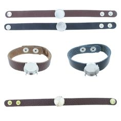 The Branded Leather Line - Classic Leather Bracelet With One 18mm Rivoli Round Riveted Empty Setting Made In The USA - Las Vegas Rhinestones